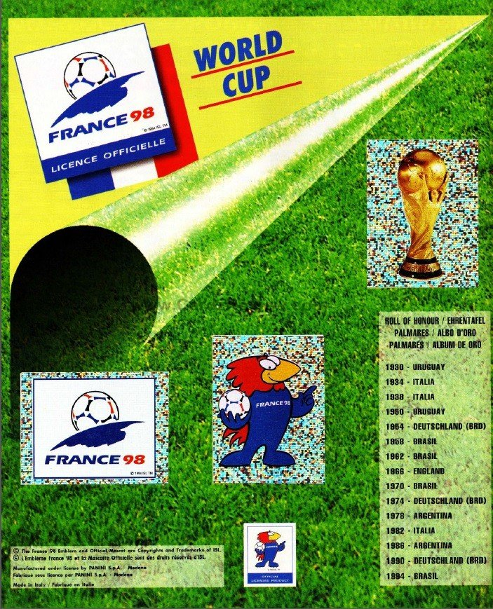 Panini France 98 Official Sticker album book2